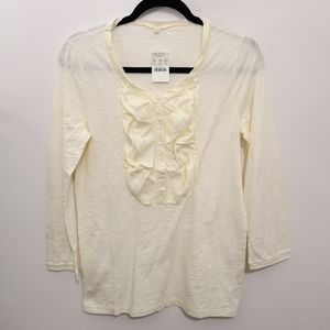 J. Crew Cream Silk Ruffle Detail Long Sleeve Top